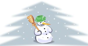 Snowman with broom Royalty Free Stock Image