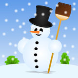 Snowman with a broom in the landscape Royalty Free Stock Image