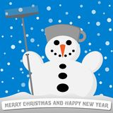 Snowman with a broom and a pot on his head Stock Image