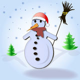Snowman. With the broom on the snow landscape Stock Photo