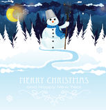 Snowman with a broom Royalty Free Stock Photos