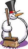 Snowman with a broom Stock Images