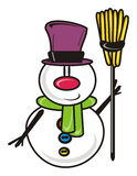 Snowman without a broom Stock Photos
