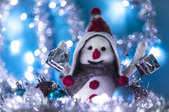 Snowman 4 brought Christmas gifts Royalty Free Stock Images