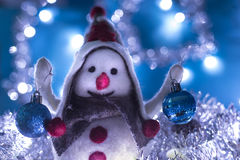 Snowman 5 brought Christmas gifts Royalty Free Stock Photo