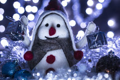 Snowman 5 brought Christmas gifts Stock Photo