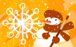 Snowman with brush. On yellow background Royalty Free Stock Images