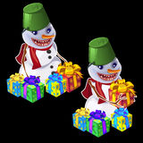 Snowman with a bucket on head gives gifts Stock Photography