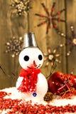 Snowman with bucket on his head Stock Photos