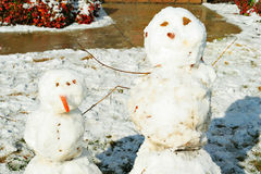 Snowman buddies. Shot of snow man buddies Royalty Free Stock Photography