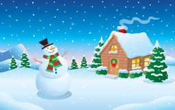 Snowman and Cabin Winter Snow Scene Stock Photos