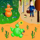Snowman, cactus and oldman in different seasons and weathers. Snowman meeting spring, oldman gathers mushrooms and cactus has a flower Royalty Free Stock Images