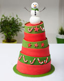 Snowman cake Stock Photography