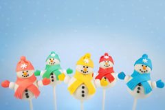Snowman cake pops Stock Images