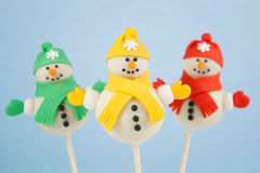 Snowman cake pops Stock Photography