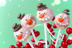 Snowman cake pops Royalty Free Stock Photo