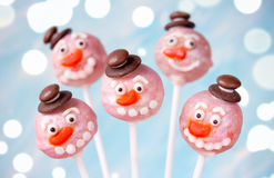 Snowman cake pops Royalty Free Stock Photography