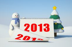 Snowman and calendar. Illustration for New Year and Christmas Vector Illustration