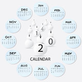 Snowman Calendar Art 2014. Illustration royalty free illustration