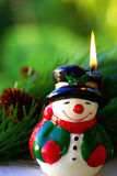 Snowman Candle Stock Photo