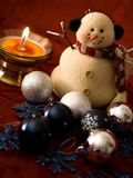 Snowman and Candle Stock Image