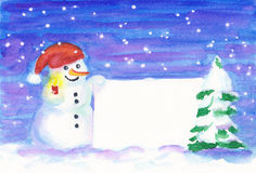 Snowman with candlelight holding blank sign. Watercolor painting of a snowman holding a blank sign Royalty Free Stock Image