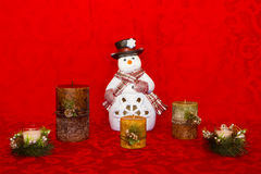 Snowman with Candles Stock Photo