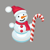 Snowman with candy cane Royalty Free Stock Photo