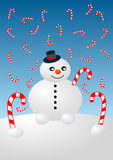 Snowman and Candy Canes Christmas Card Stock Images