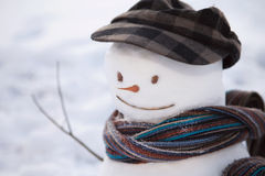 Snowman with cap Stock Photography