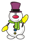 Snowman without a cap Royalty Free Stock Photos