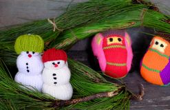 Snowman, car and pine tree Stock Images