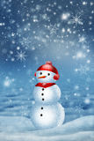 Snowman for card. Or background Stock Photo