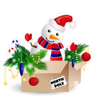 Snowman. In a card board with a christmas tree Stock Images