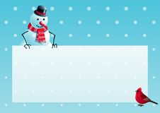 Snowman and cardinal bird with christmas letter. Vector illustration of snowman and cardinal bird with empty blank on horizontal background with snowflakes Stock Photography