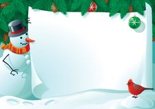 Snowman and cardinal bird for christmas letter. Vector illustration of snowman and cardinal bird with empty blank on horizontal background with christmas fir Royalty Free Stock Photo