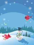 The snowman and the cardinals. The vector picture. EPS 10 Stock Photos