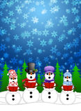Snowman Carolers Sing in Winter Snow Illustration. Snowman Carolers Singing Christmas Songs with Snowing Winter Scene Illustration Royalty Free Stock Photo