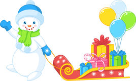 Snowman carries gifts Stock Images