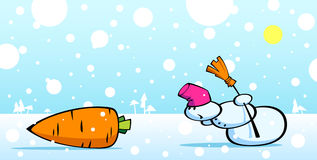 Snowman and carrot Royalty Free Stock Photography