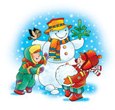 Snowman carrot dog winter children Stock Photo