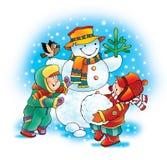 Snowman carrot dog winter children Stock Photo