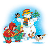Snowman carrot dog winter children Stock Image