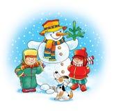 Snowman carrot dog winter children Royalty Free Stock Image