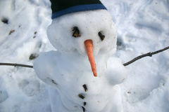 Snowman with Carrot Nose and Toque. A Snowman with a carrot nose, sticks for arms, and a toque (stocking cap), just beginning to melt Royalty Free Stock Image