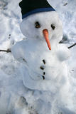 Snowman with Carrot Nose and Toque. A Snowman with a carrot nose, sticks for arms, and a toque (stocking cap), just beginning to melt Royalty Free Stock Photography