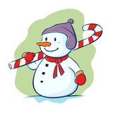 Snowman carry candy cane Stock Images