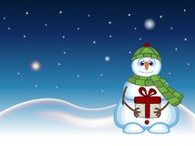 Snowman carrying a gift and wearing a green head cover and a scarf with star, sky and snow hill background for your design vector Royalty Free Stock Photo