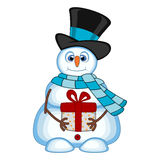 Snowman carrying a gift wearing a hat and a blue scarf for your design vector illustration Stock Photography