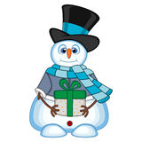 Snowman carrying a gift wearing a hat, blue sweater and a blue scarf for your design vector illustration. Colourful Royalty Free Stock Photo